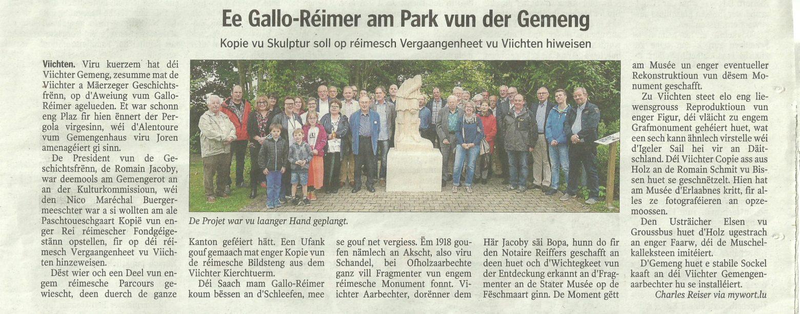Eng Gallo- Réimer Figur am Park vun der Viichter Gemeng !